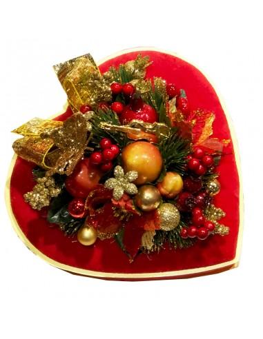 Coeur en velours de Noël - 90g