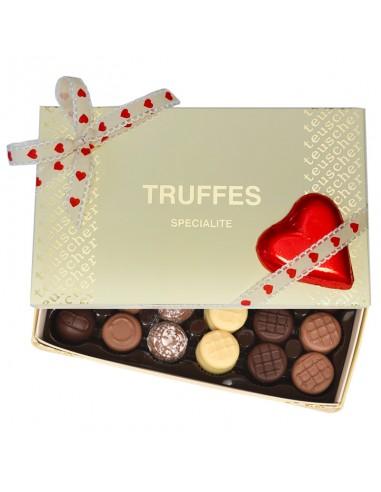 assorted truffles with milk chocolate heart teuscher